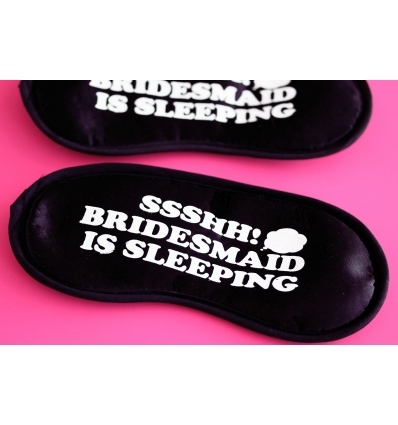 BRIDESMAID IS SLEEPING BASKILI LASTİKLİ SİYAH UYKU BANDI