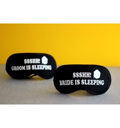 BRIDE GROOM SLEEPING BASKILI LASTİKLİ SİYAH UYKU BANDI TAKIMI