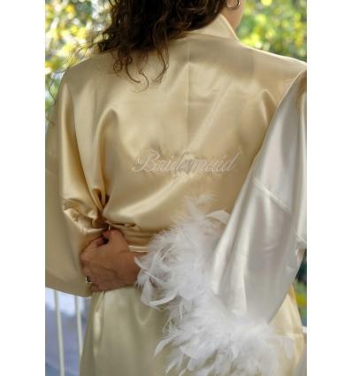 DORE RENK BRIDESMAID İŞLEMELİ NEDİME SATEN SABAHLIK