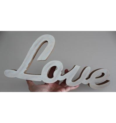 LOVE KESİMLİ ESKİTME BEYAZ BOYAMALI AHŞAP OBJE